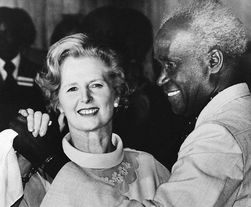 Kenneth Kaunda dance with Margaret Thatcher